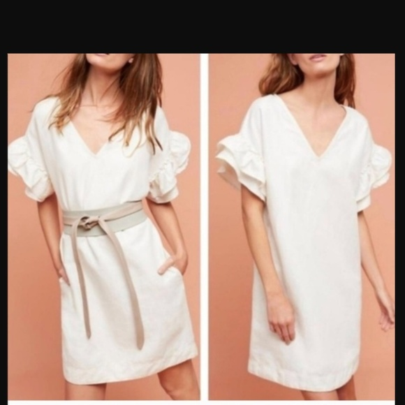 e2ecf73f18 Anthropologie Dresses   Skirts - Maeve White V-Neck Linen Shift Dress  Ruffle Slv